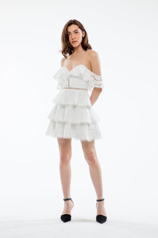 Sophia Off-The-Shoulder Mini Tiered Dress (White) - SAU LEE