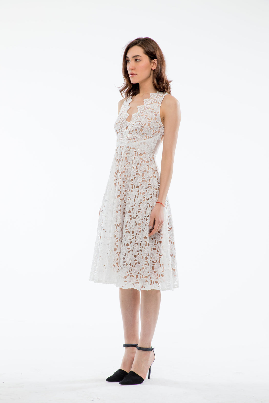 Ashley Guipure Lace Open Back Dress (White) - SAU LEE