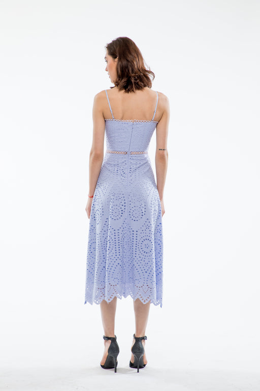 Brienne Embroidered Cotton Sweetheart Dress (Periwinkle Blue) - SAU LEE