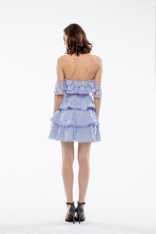 Sophia Off-The-Shoulder Mini Tiered Dress (Periwinkle Blue) - SAU LEE