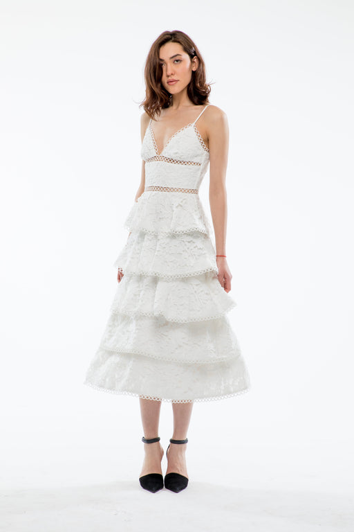 Camellia Cotton Lace Tiered Midi Dress (White) - SAU LEE