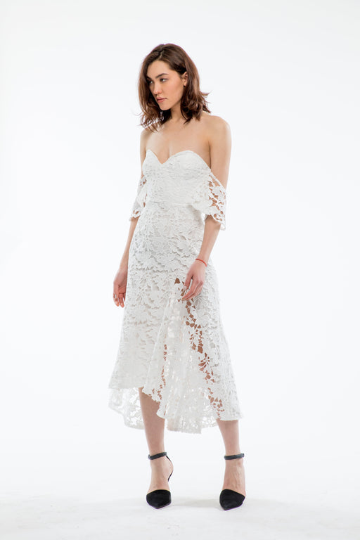 Scarlett Cotton Lace Off-The-Shoulder Dress (White) - SAU LEE