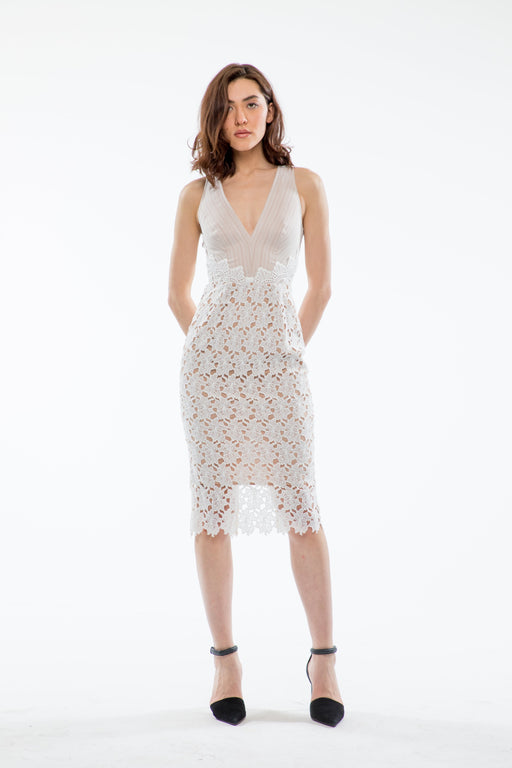 White lace pencil dress