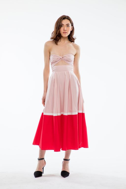 Poppy Cotton Color Block Dress (Pink/Red) - SAU LEE