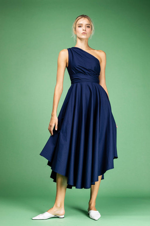 Andrea Cotton Midi Dress (Navy) - SAU LEE