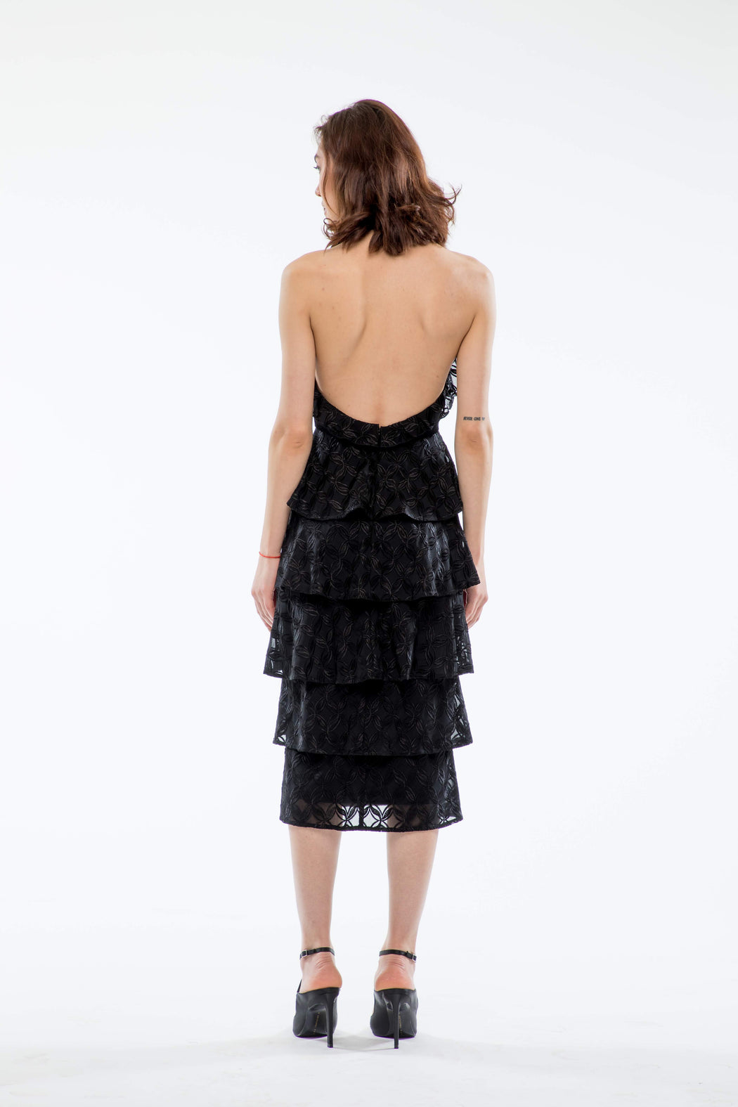Lola Tiered Backless Velvet Dress (Black) - SAU LEE