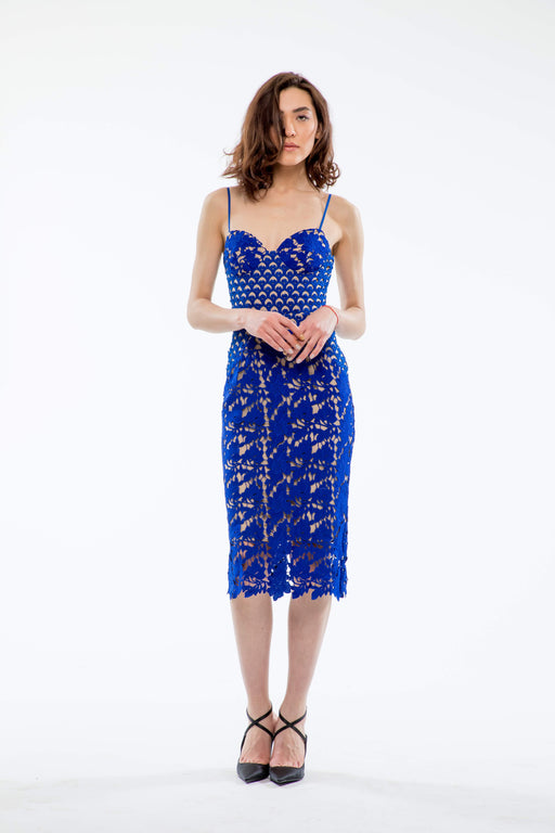 Guinevere Guipure Lace Pencil Dress (Sapphire) - SAU LEE