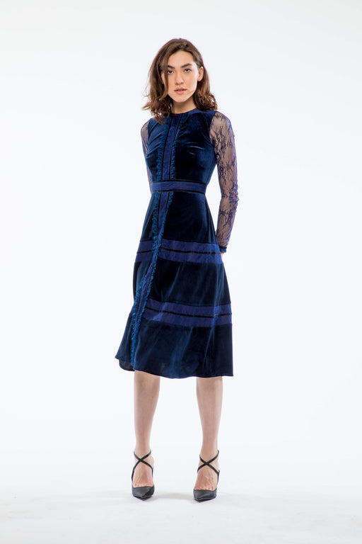Constance Lace and Velvet Long Sleeve Dress (Navy) - SAU LEE