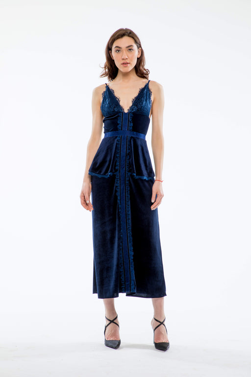 Bridget Lace and Velvet Midi Dress (Navy) - SAU LEE