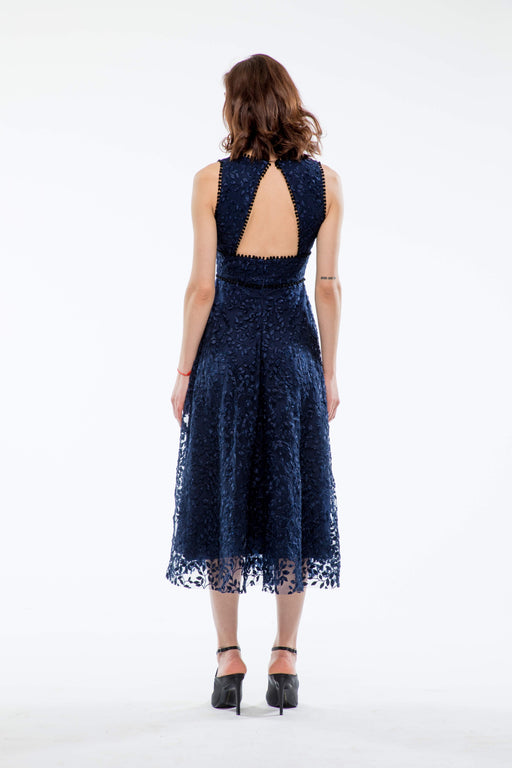 Augustine Embroidered Open Back Midi Dress (Navy) - SAU LEE
