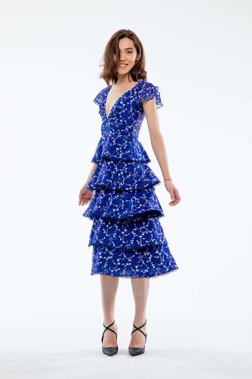 Emilia Tiered Embroidered Midi Dress (Sapphire) - SAU LEE