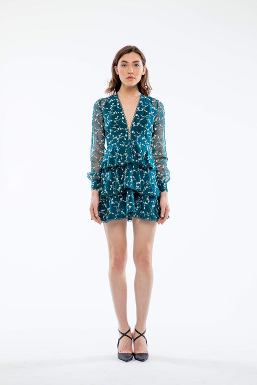 Isabel Tiered Embroidered Mini Dress (Teal) - SAU LEE
