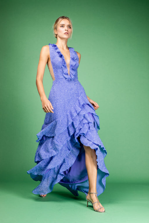 Tatjana Ruffle Gown (Blue) - SAU LEE