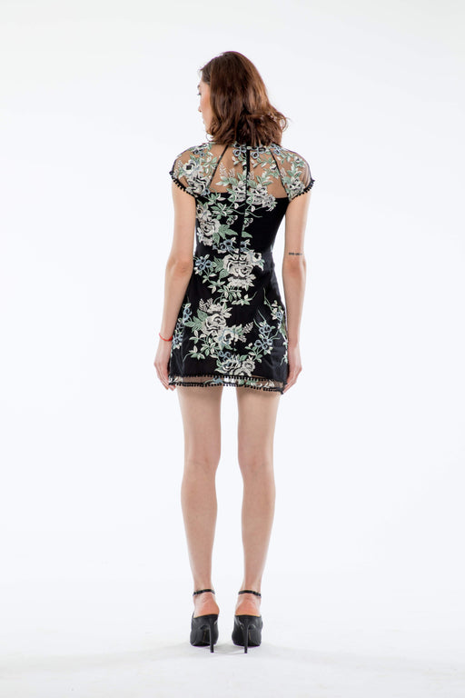 Lily Floral Embroidery Mini Dress (Black) - SAU LEE
