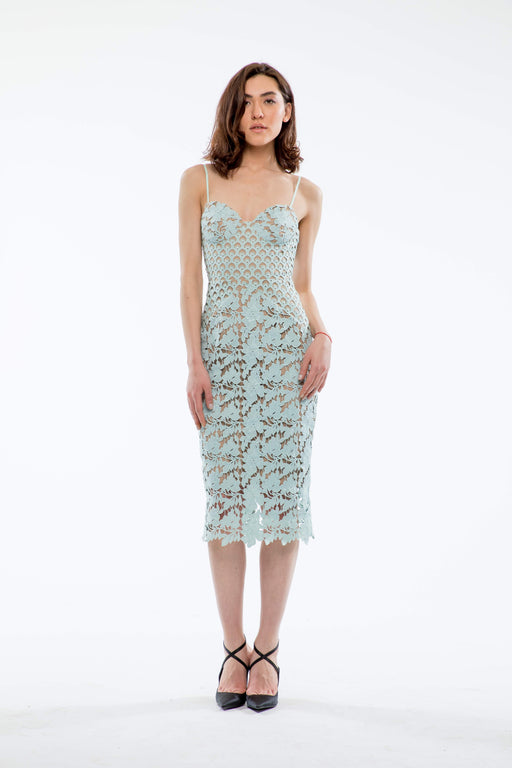 Guinevere Guipure Lace Pencil Dress (Mint) - SAU LEE