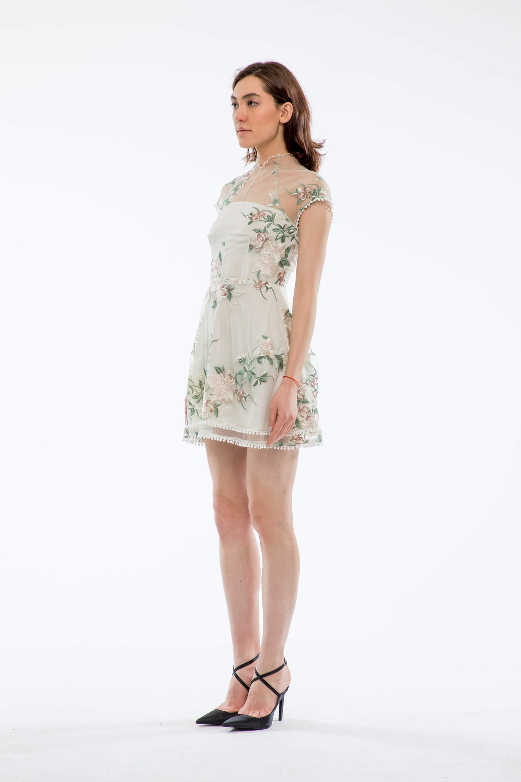 Lily Floral Embroidery Mini Dress (Ivory) - SAU LEE