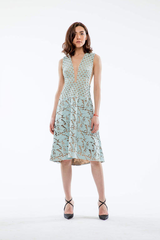 Daniela Guipure Lace A-line Dress (Mint) - SAU LEE
