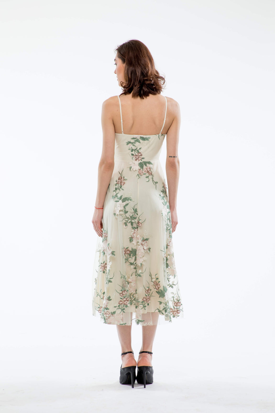 Gabriella Floral Embroidery Midi Dress (Ivory) - SAU LEE