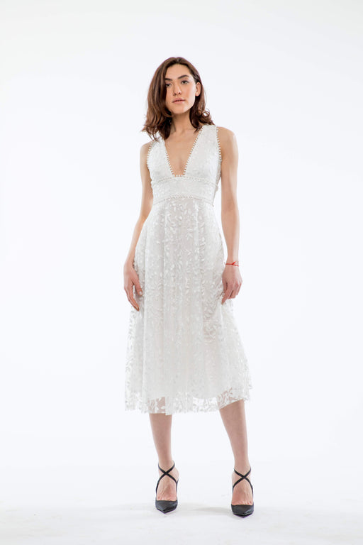 Augustine Embroidered Open Back Midi Dress (White) - SAU LEE