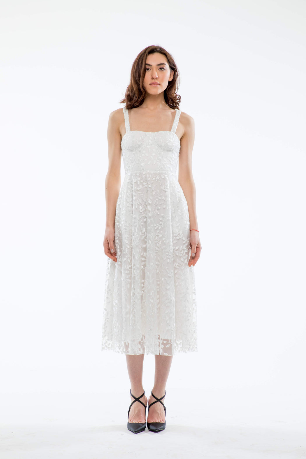 Ambrose Embroidered Bustier Midi Dress (White) - SAU LEE