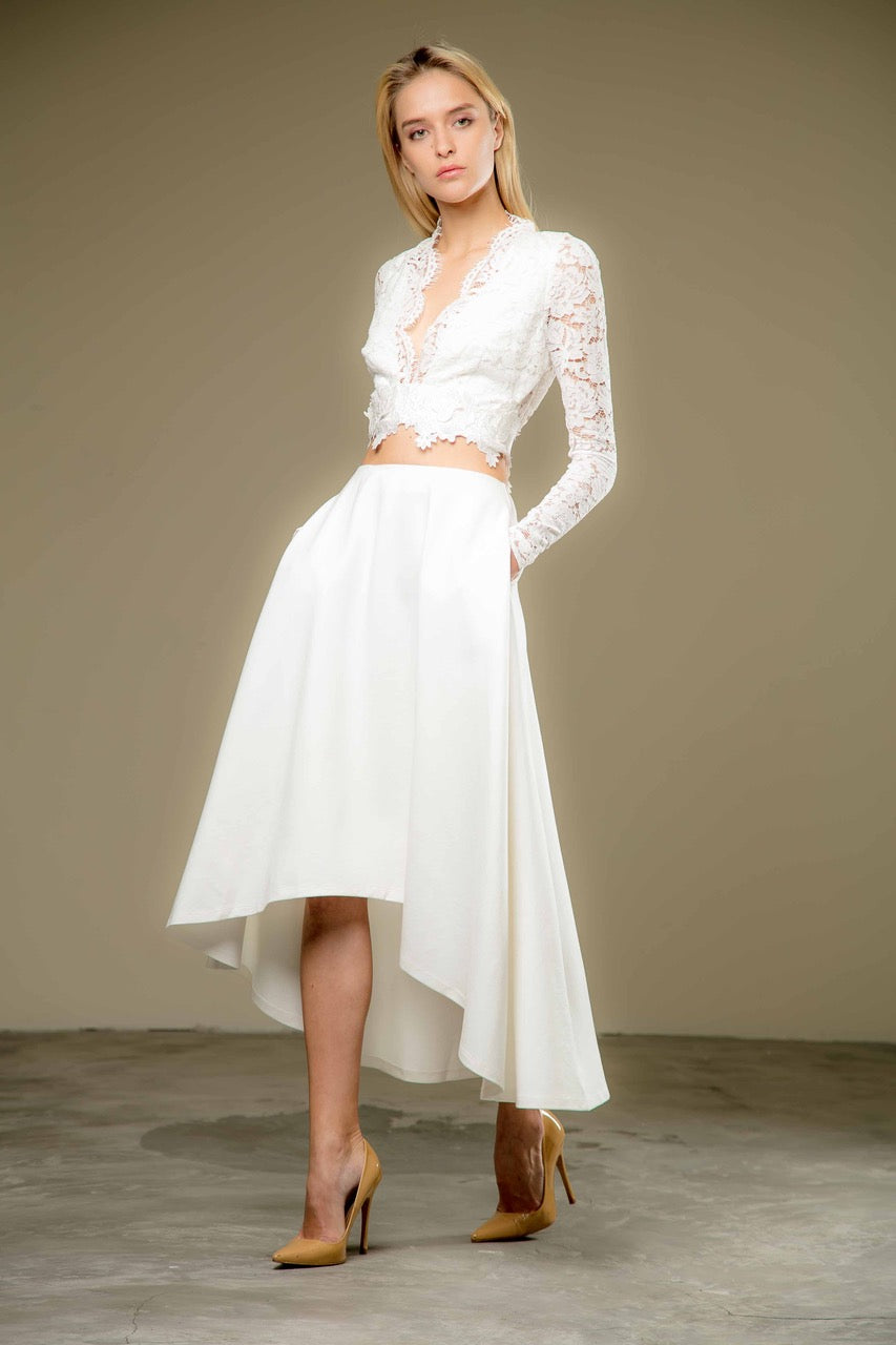 Adalyn Asymmetric Evening Skirt (White) - SAU LEE