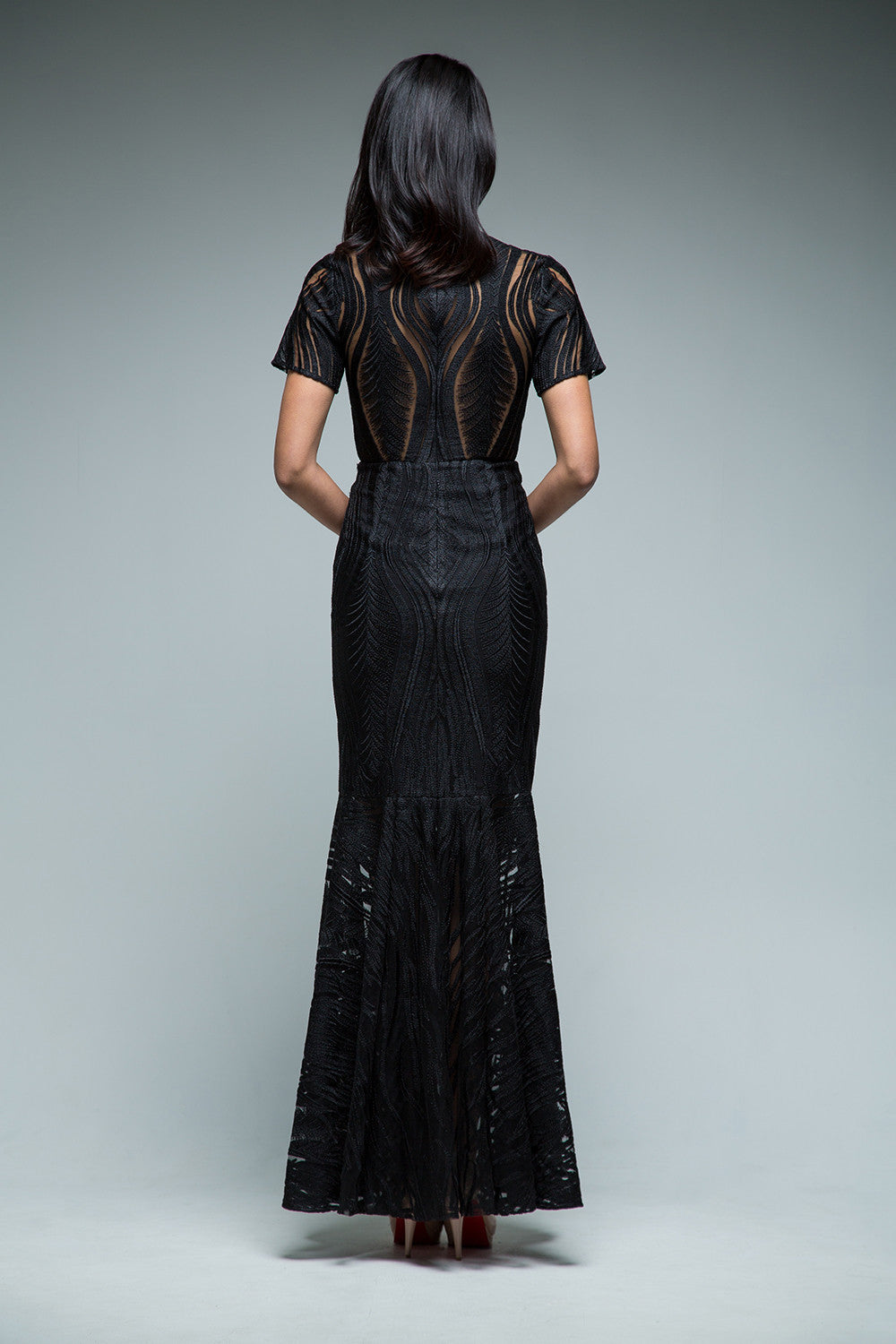 Angelina Plunging Neck Gown (Black) - SAU LEE