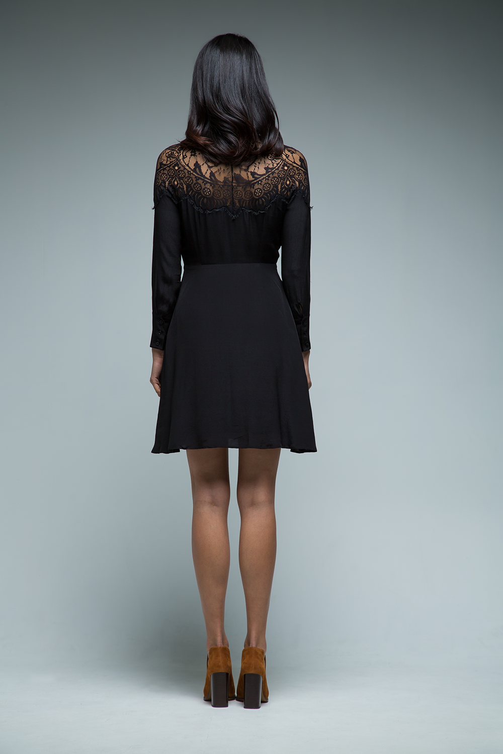 Camilla Lace Shoulder Shirt Dress (Black) - SAU LEE