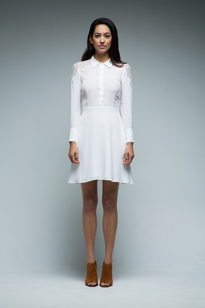 Camilla Lace Shoulder Shirt Dress (White) - SAU LEE