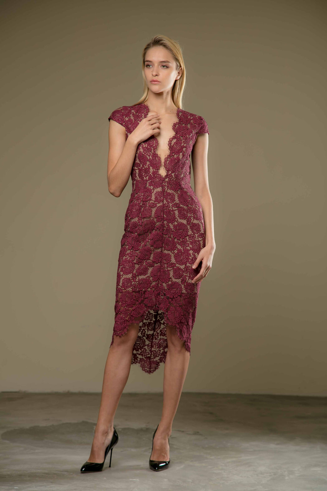 Emilie Plunging Neck Lace Pencil Dress (Maroon) - SAU LEE