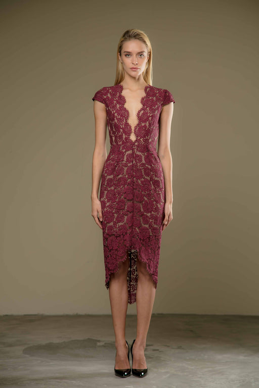 Emilie Dress (Maroon) - SAU LEE