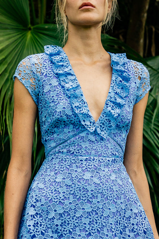 Flora Lace Mini Dress (Blue) - SAU LEE