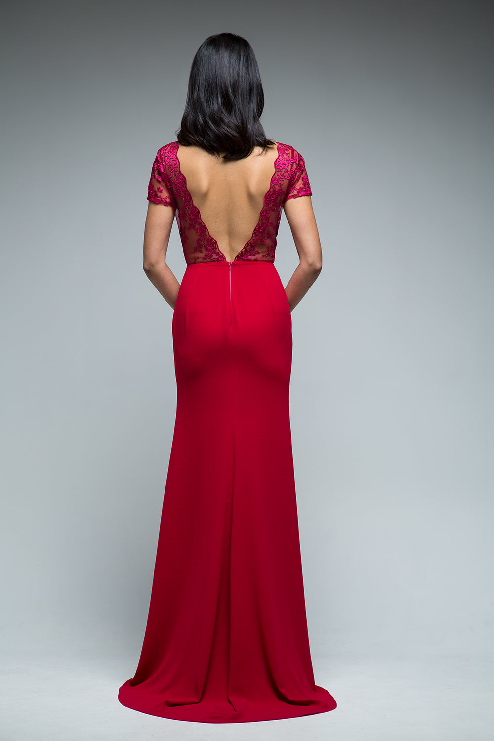 Gwen Backless Gown (Red) - SAU LEE