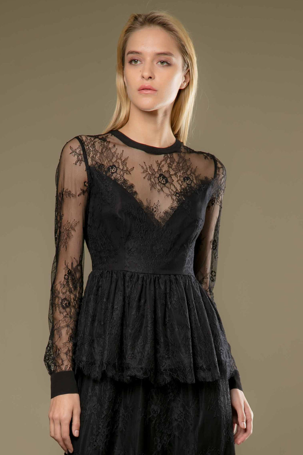 Layla Sheer Lace Peplum Blouse - SAU LEE