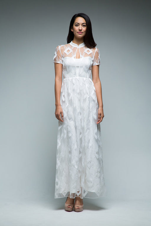 Lia Embroidered Gown (White) - SAU LEE