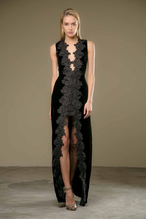 Liliana Lace Velvet Gown - SAU LEE