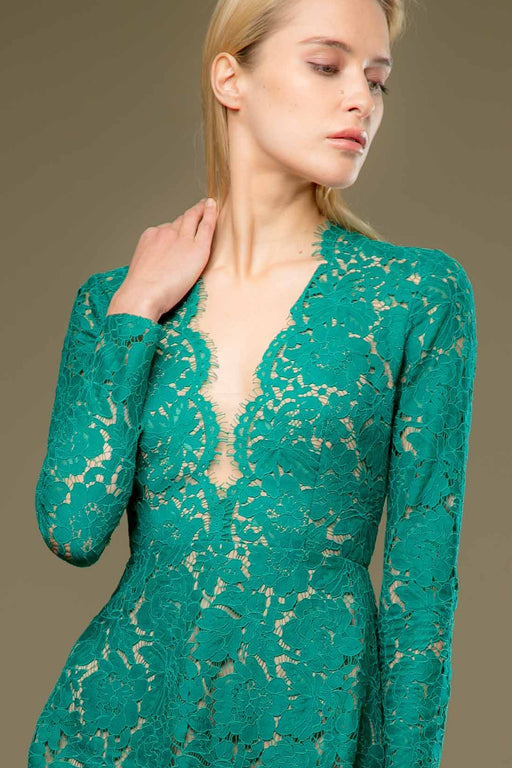 Natalie Long Sleeve Lace Mini Dress (Emerald) - SAU LEE