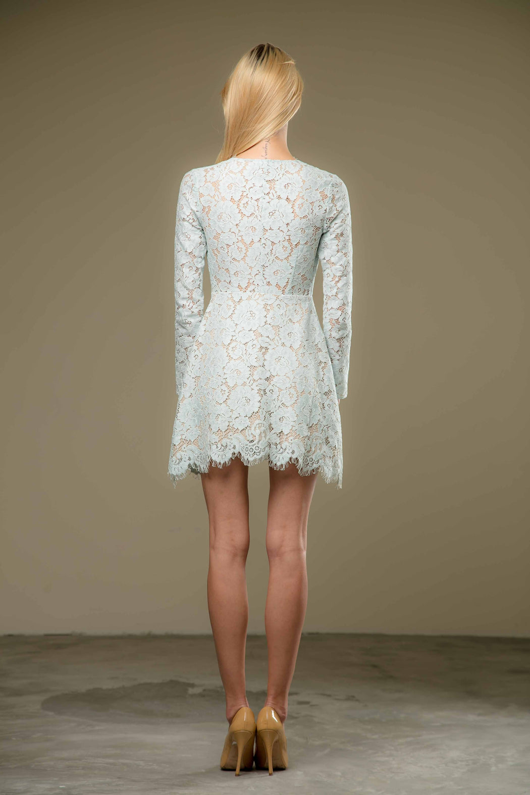 Natalie Long Sleeve Lace Mini Dress (Mint) - SAU LEE