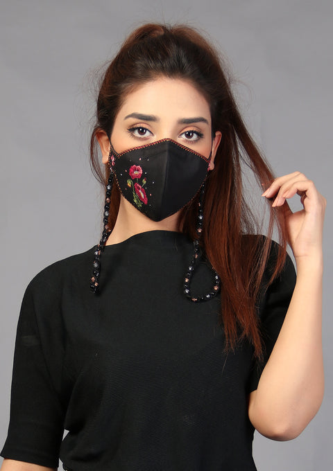 Floral Embroidered Cotton Mask