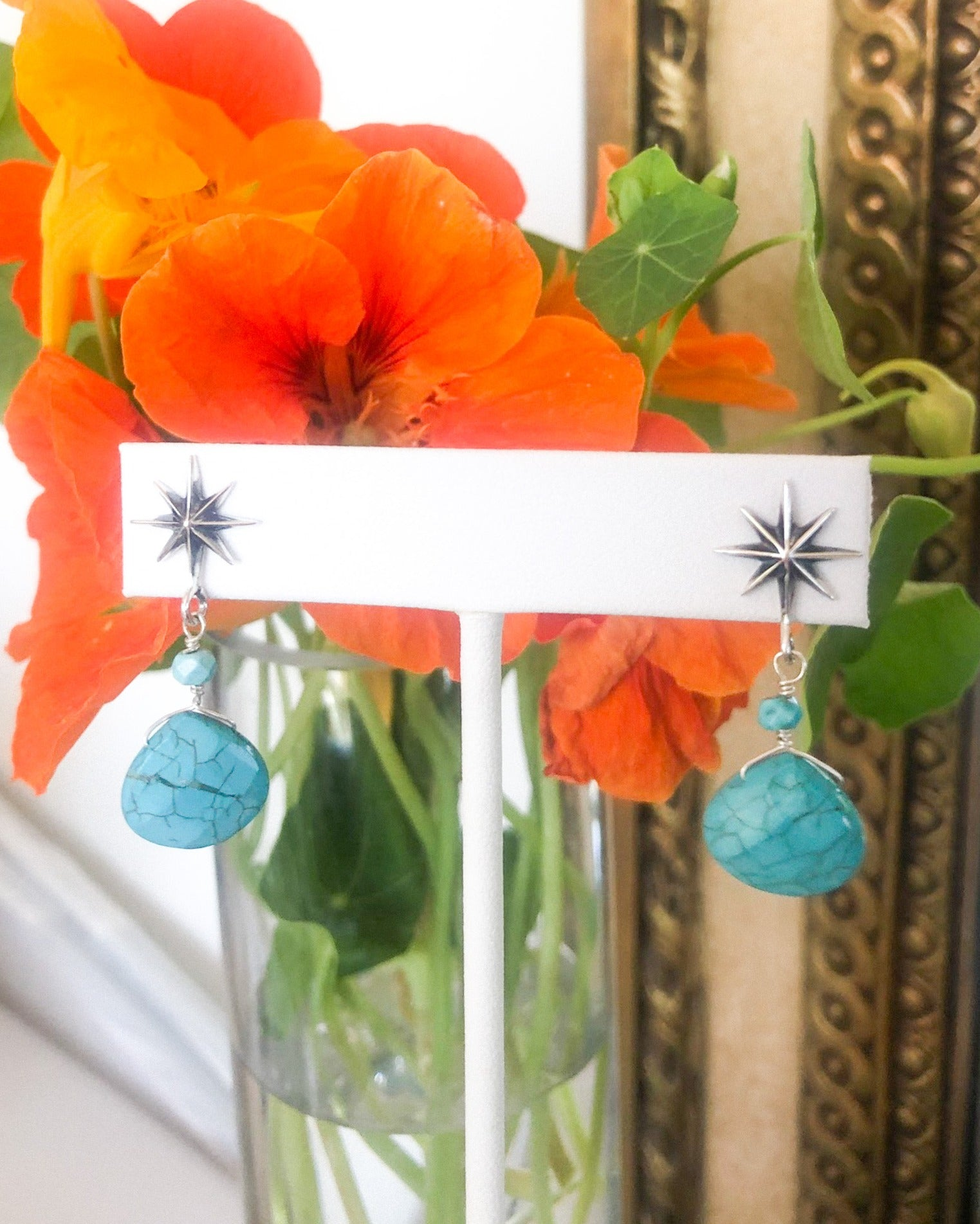 Blue Turquoise Starburst Earrings