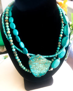 Blue Turquoise Necklace - Short