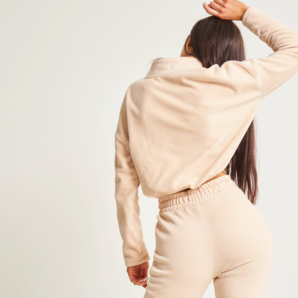 """Be Glamorous"" Nude Cropped Fleece"