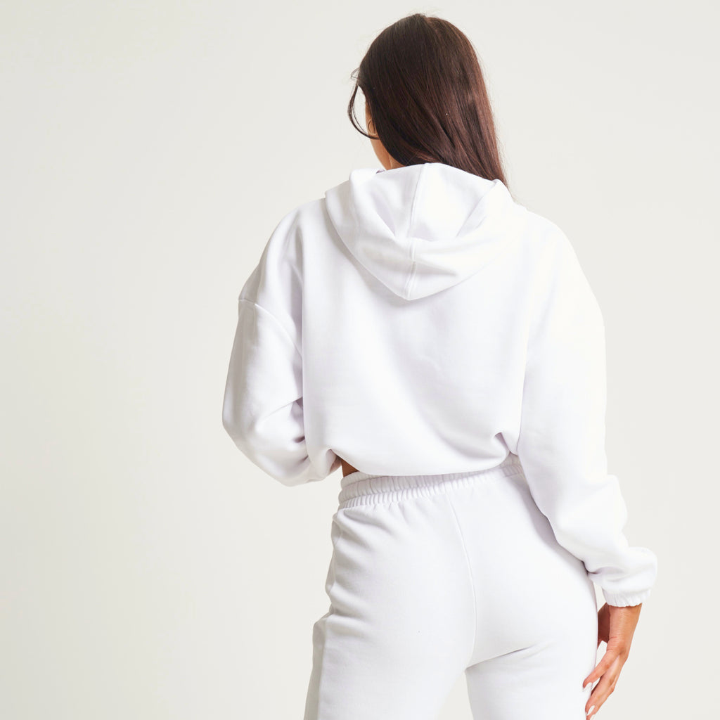 """Be Motivated"" White Cropped Hoodie"