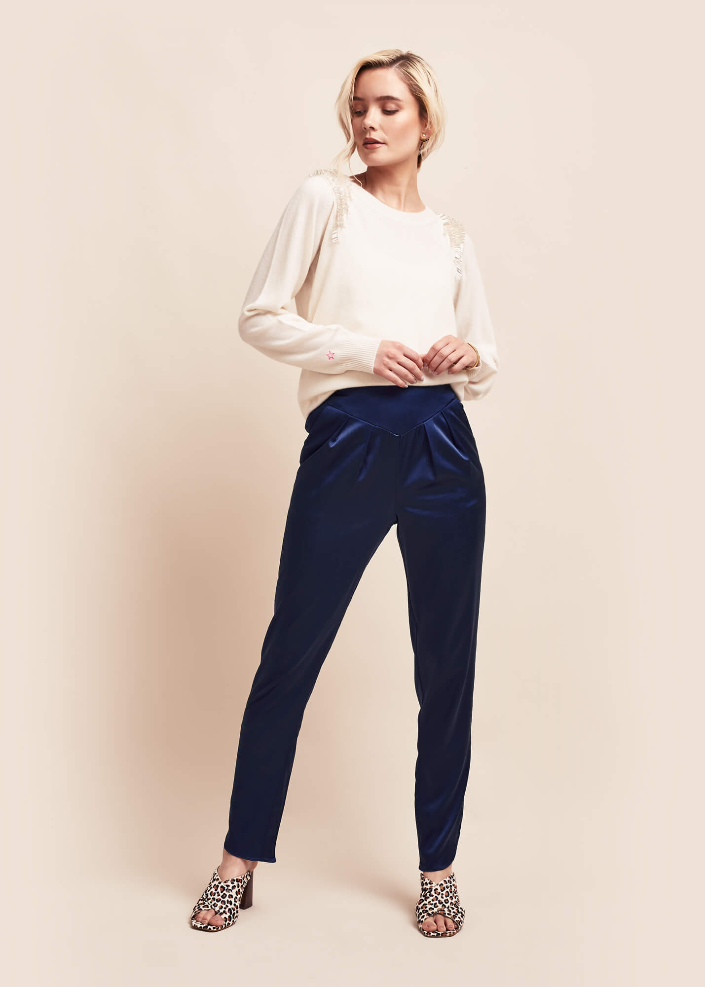 Estella Ink Silk Trousers