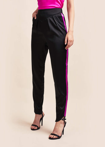 Estella Ebony & Amaranth Silk Trousers