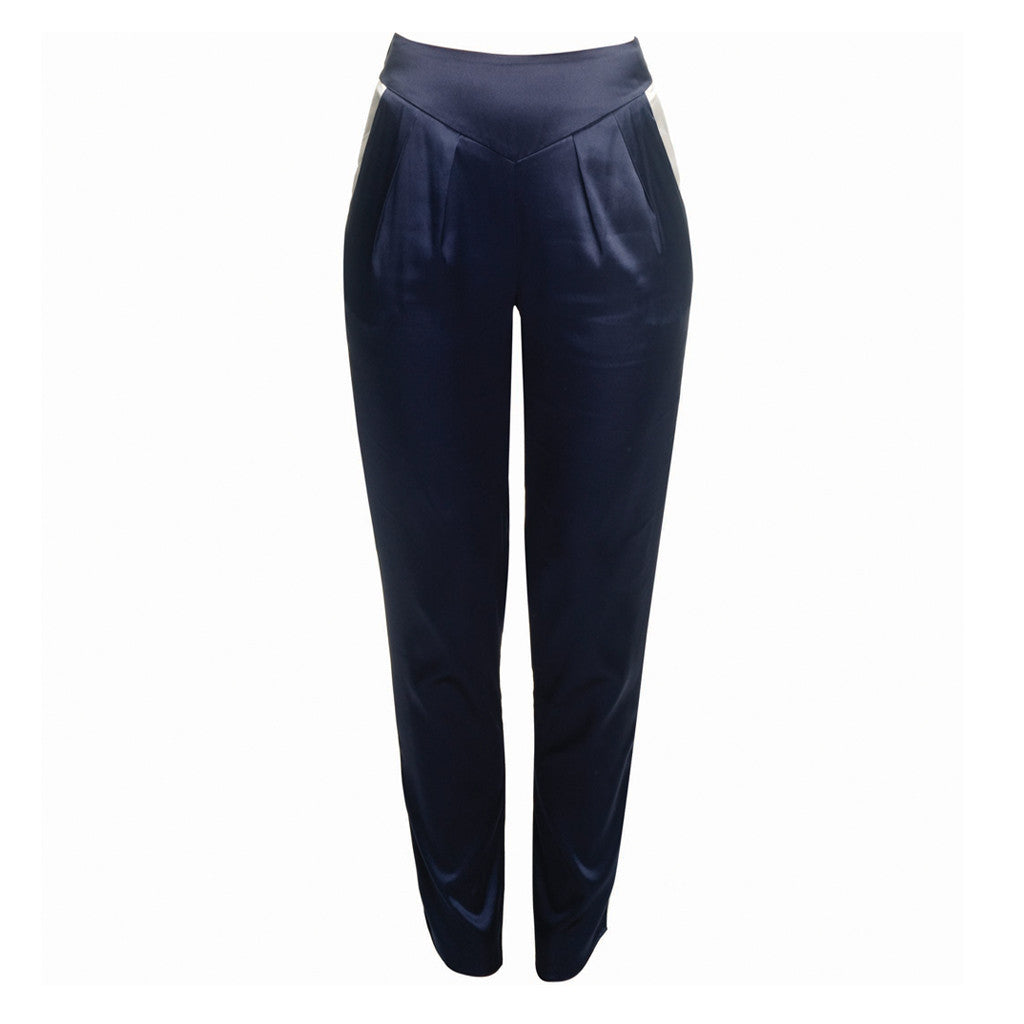 flattering silk trousers, navy silk trousers with ivory trim, work trousers, smart trousers, evening trousers