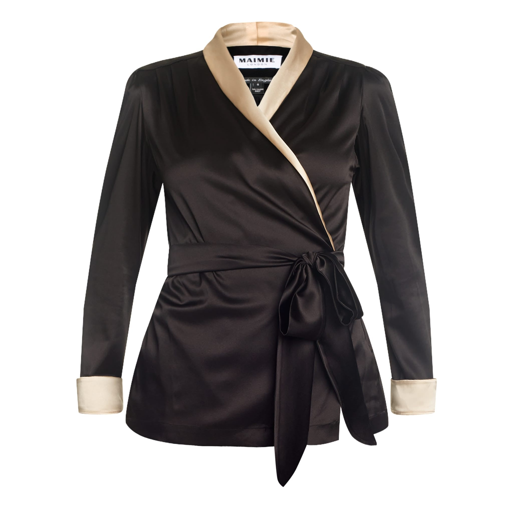flattering silk wrap shirt, black shirt with oysetr trim, eveningwear