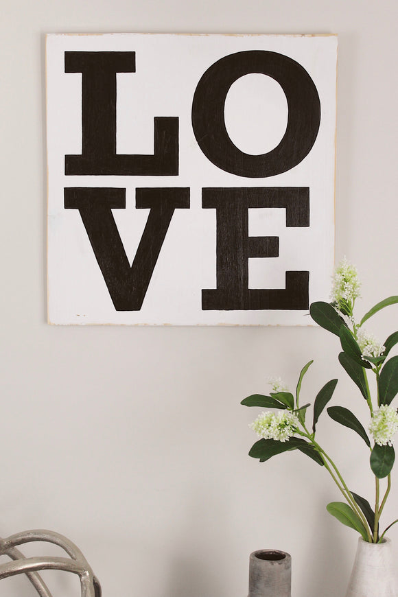 LOVE Square Wooden Sign
