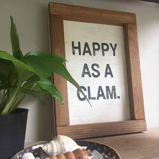 Happy as a Clam Wood Sign