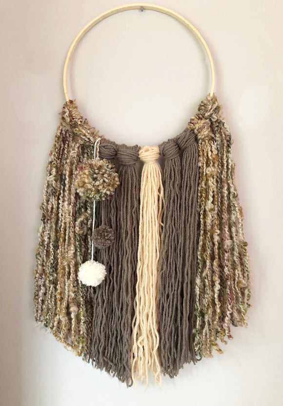 Yarn Hanging - Large Beige/Taupe/Brown