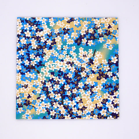 Washi Origami Paper with Blue and Yellow Flowers